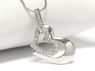 Dual heart necklace(R1241CL-12641)