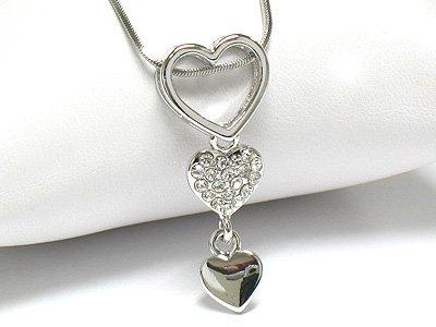 Triple heart drop necklace (R1251SL-22107)