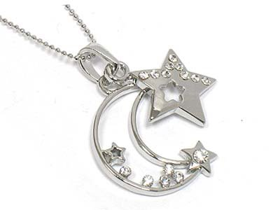 Moon and star necklace(R1234SL-11545)