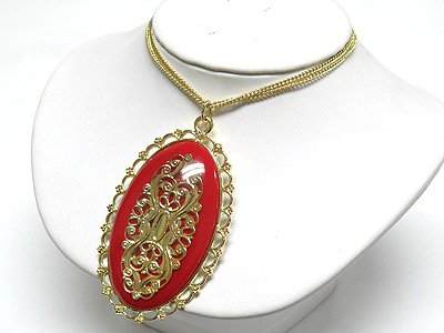 Metal filigree oval pendant (C1245RD-22532)