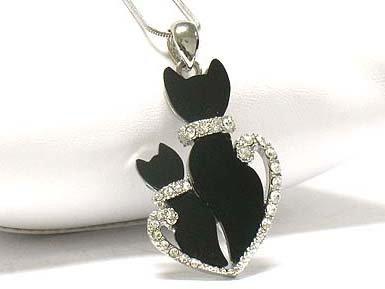 Dual cat pendant necklace (E1261BK-12493)