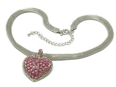 Heart mesh chain necklace(O1265PK-41750)