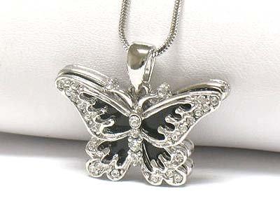 Onyx butterfly pendant necklace(E1267BK-121963)