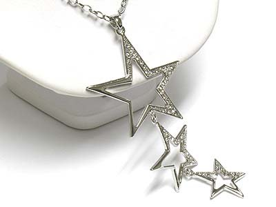 Triple star drop necklace(A1297SL-12932)
