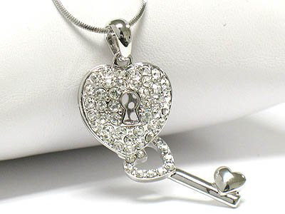 Crystal heart & Key necklace( R1249CL-12638)