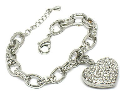 Crystal heart link bracelet(U1173CL-102539)