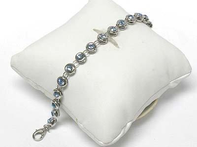 Round crystal link bracelet(M1137BL-918130)