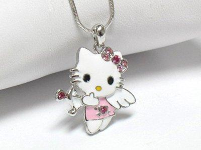 Angel cat necklace(R1248PK-2294)
