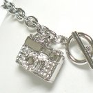 Crystal camera charm toggle bracelet(R1145SL-32536)