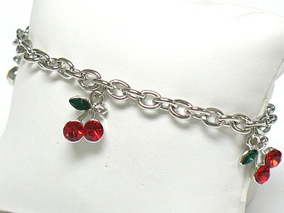 Crystal cherry charm toggle bracelet(R1145RD-32523)