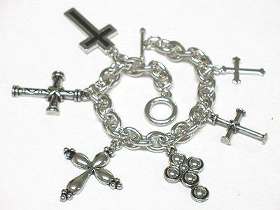 Multi cross charm bracelet(J1137SL-32513)