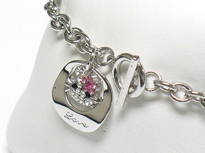 Cat charm dangle toggle bracelet(R1141PK-323108)