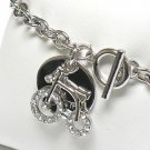 Double layer crystal bike charm( R1141SL-323109)