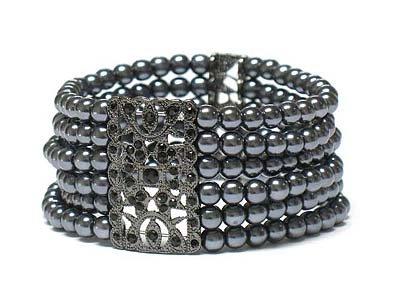 Crystal deco multi row pearl beads bracelet(L11153GR-12914)