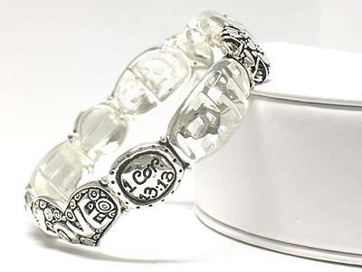 Bible inscribed stretch bracelet(O11149SL-12325)