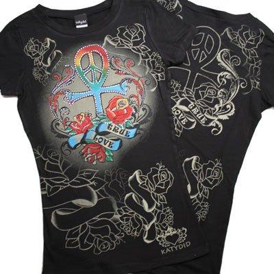 Rhinestone ANKH/PEACE/CROSS Tee Shirt (KDC5011SS)