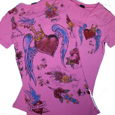 HEART & WINGS Rhinestoned Shirt