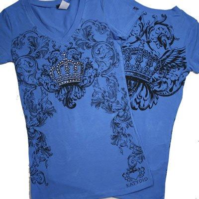 V Neck Rhinestone CROWN Tee Shirts