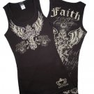 Cross with faith rhinestone tank top