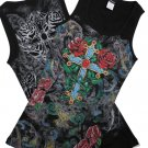 Rhinestone CROSS/ROSES TANK TOPS