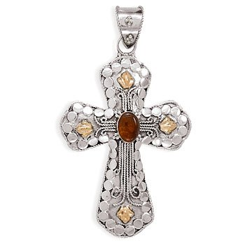 14 Karat Gold Plate Cross with Baltic Amber(5716)