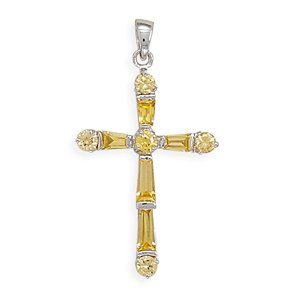Baguette/Round Yellow Crystal Cross Pendant(7981)