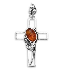Oxidized Cross Pendant with Oval Amber(72201)