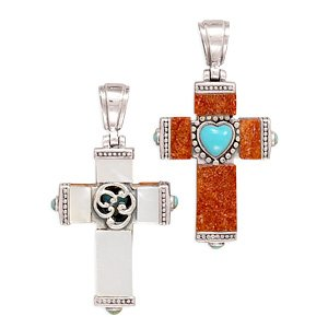 Sponge Coral and Shell Reversible Cross Pendant(72204)
