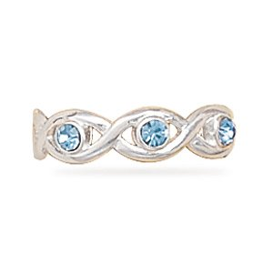 Swirl Toe Ring with Light Blue Crystal
