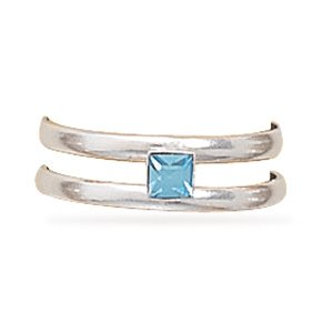 Toe Ring with Blue Crystal(9491)