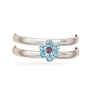 Light Purple and Blue Crystal Flower Toe Ring(9494)