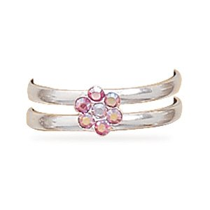 Purple and Pink Crystal Flower Toe Ring(9495)