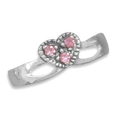 Pink Crystal Heart Toe Ring(9868)