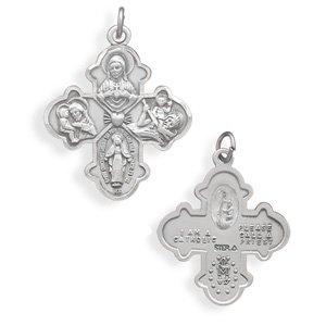 Reversible Catholic Cross Medallion Pendant(73595)