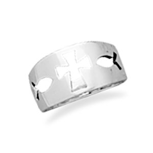 Cut Out Cross/Ichthys Ring(8601)