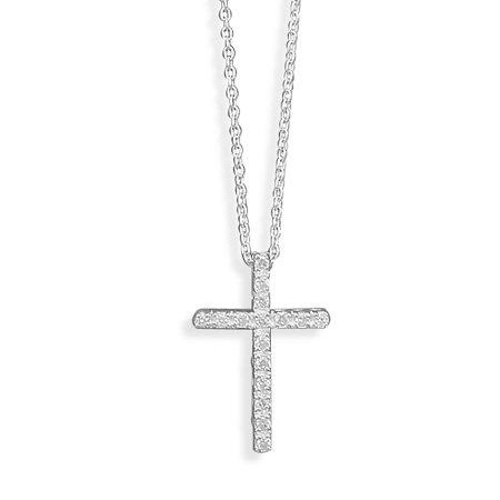 "16"" CZ Cross Necklace(3055)"