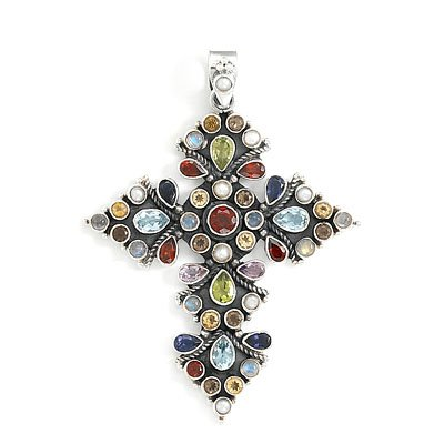 Oxidized Multicolor Stone Cross Pendant(7917)