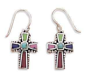 Multicolor Stone Cross Earrings(62534)