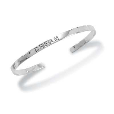 "4mm Rhodium Plated ""DREAM"" Cuff(22805)"