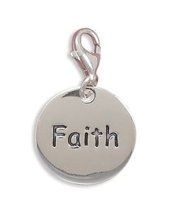 "Polished ""Faith"" Charm with Lobster Clasp(73336)"