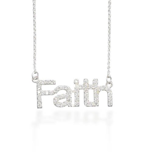 "18"" Necklace with CZ ""Faith""(33009)"