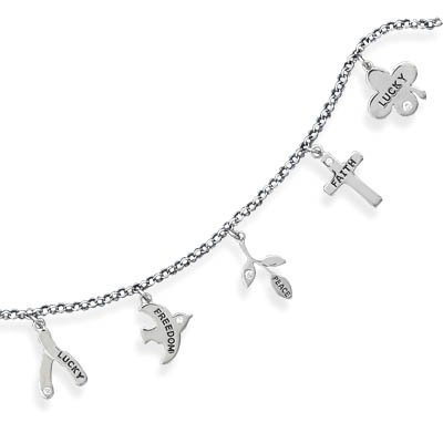 Rhodium Plated Inspirational CZ Charm Bracelet(22958)