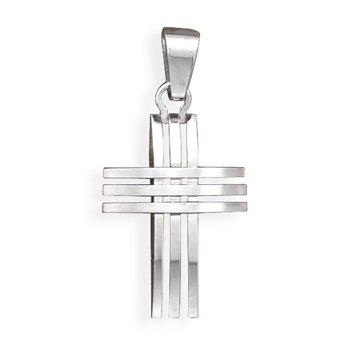 Stainless Steel 3 Row Design Cross Pendant(73530)