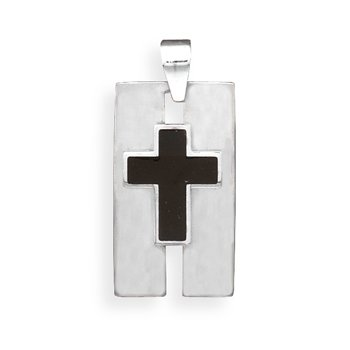 Stainless Steel Pendant with Black Cross(73525)