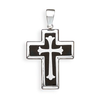 Stainless Steel and Black Resin Inlay Cross Pendant(73524)