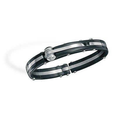 Stainless Steel and Black Plastic Men's Bracelet(22932)