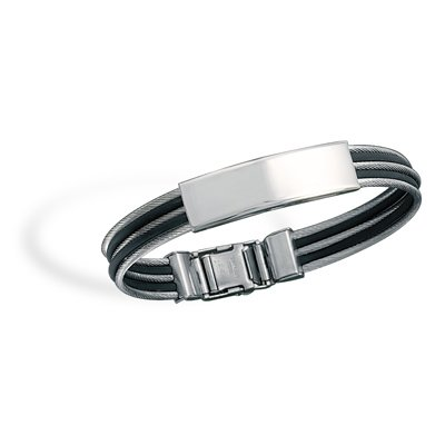 Stainless Steel Cable and Rubber ID Bracelet(22931)