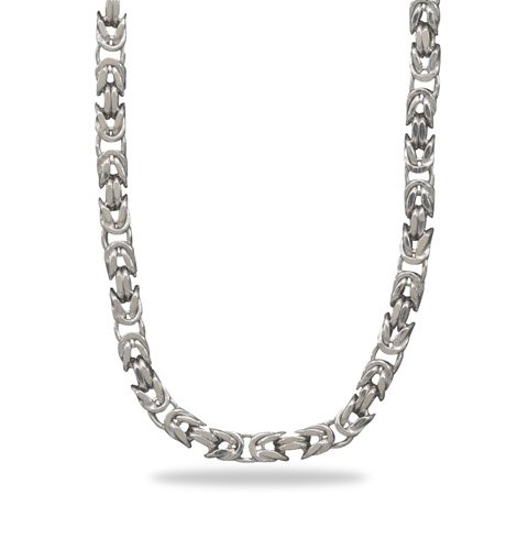 "8"" Rhodium Plated Square Byzantine Chain Bracelet(RPBZ08)"
