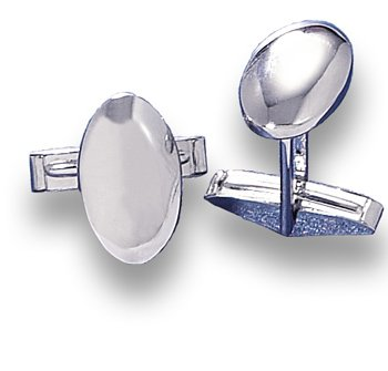 Rhodium Plated Domed Oval Cuff Links(9823)