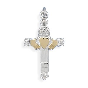 Two Tone Claddagh Cross Charm(73586)